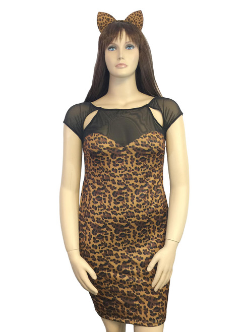 Women Plus Size Stretch Bodycon Leopard Print Mini Dress and Cat Ears Headband Lingerie