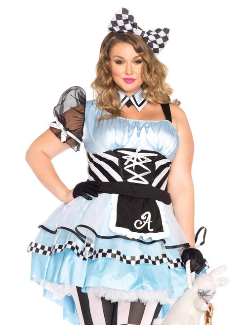 Womens Plus Size Alice in Wonderland Psychedelic Storybook Roleplay Costume