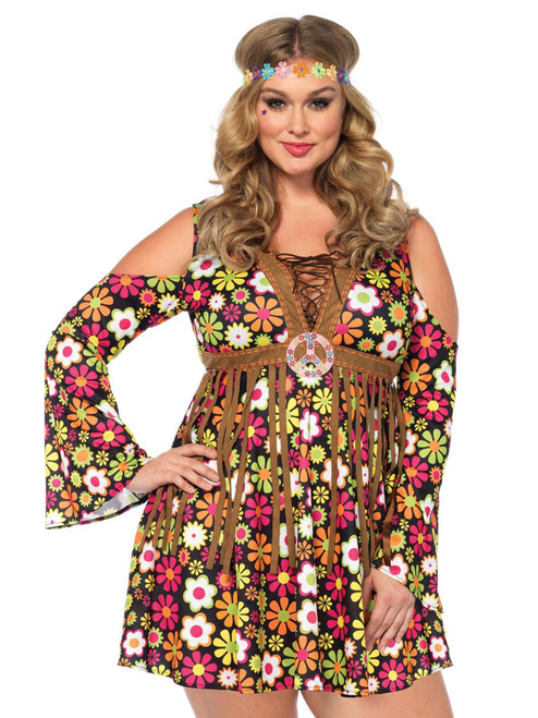 Womens Plus Size Starflower Hippy Fringe Dress Roleplay Costume