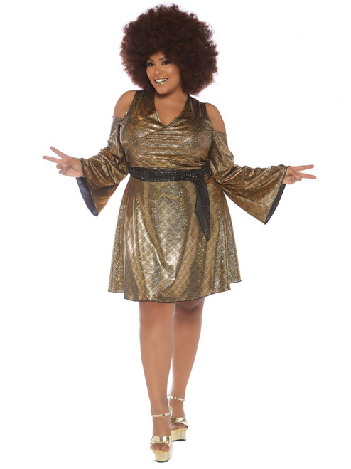 Womens Plus Size Disco Queen Diva Cold Shoulder Dress Roleplay Costume