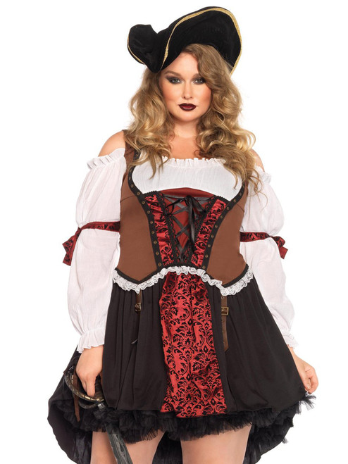 Womens Plus Size Pirate Wench Cold Shoulder Dress Roleplay Costume