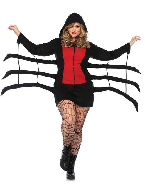 Womens Plus Size Cozy Fleece Black Widow Warm Spider Halloween Costume