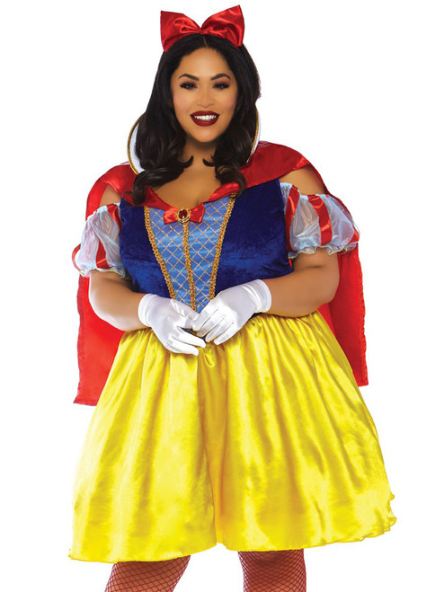 Womens Plus Size Fairytale Snow White Storybook Roleplay Costume