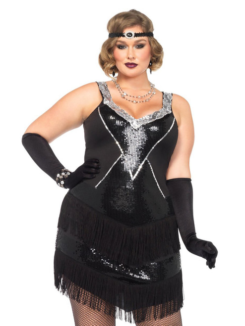 Womens Plus Size Sequin and Fringe 1920s Flapper Dress Costume