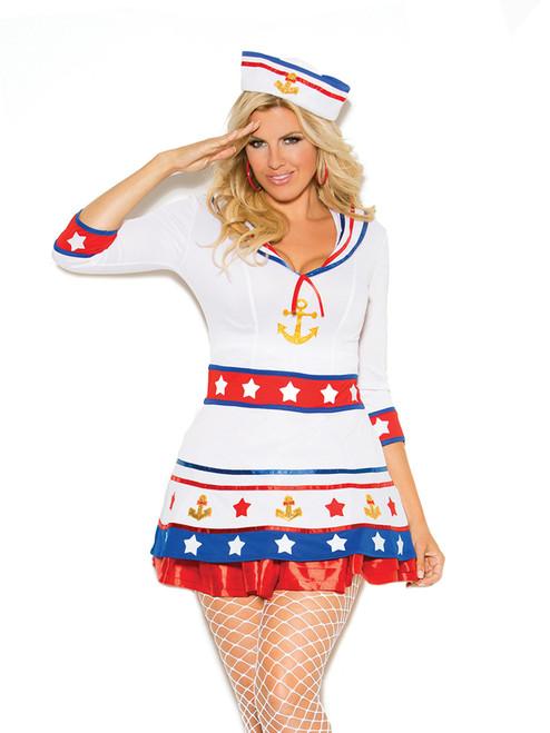 Elegant Moments Womens Plus Size Harbor Hottie Sailor Girl Halloween Roleplay Costume