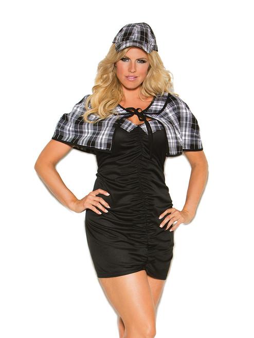 Womens Plus Size Sassy Detective Investigator Halloween Roleplay Costume