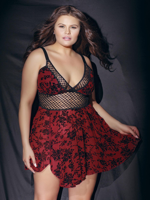 Plus Size Cut Out Mesh Fence Net Rose Print Padded Babydoll Top