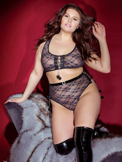 Plus Size High Waist Sheer Lace Crop Top Bra and Panty Lingerie Set
