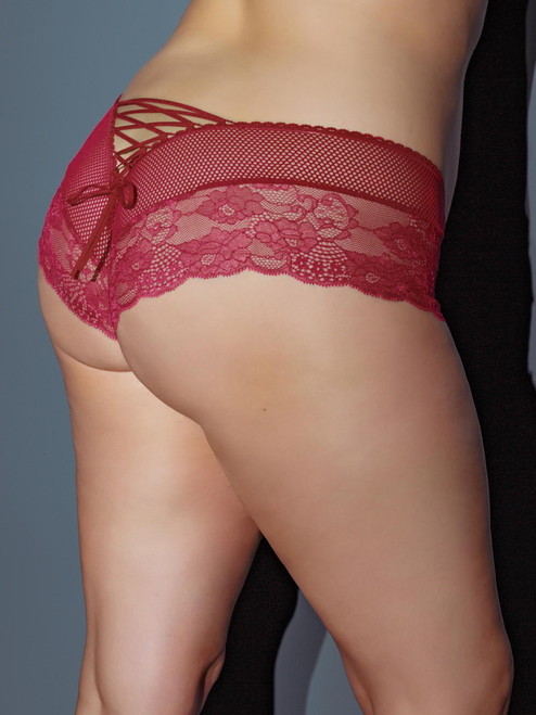 Plus Size Scalloped Stretch Lace and Fishnet Booty Short Boyshort Panties