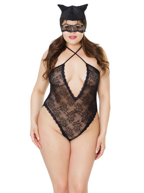 Womens Plus Size Lace Criss Cross Kitty Mask Cutout Bodysuit Bedroom Lingerie