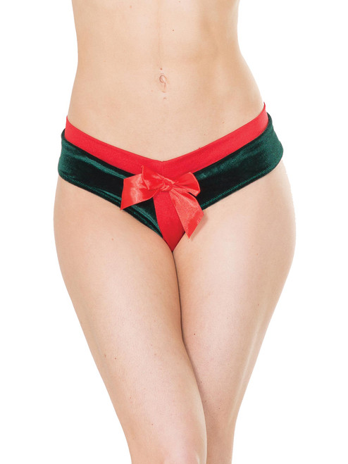 Womens Plus Size Velvet Crotchless Present Style Holiday Bow Panty Underwear