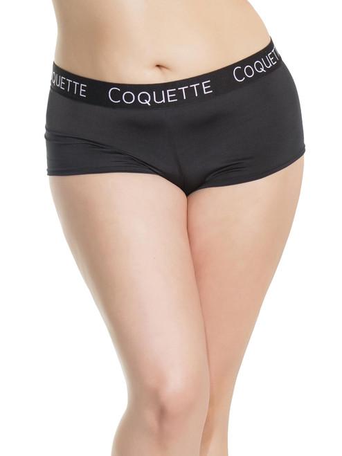 Womens Plus Size Low Rise Microfiber Booty Short Elastic Logo Boyshort Underwear