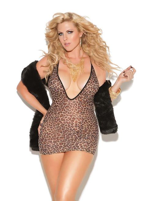 Womens Plus Size Leopard Print Deep V Bodycon Mini Dress Lingerie