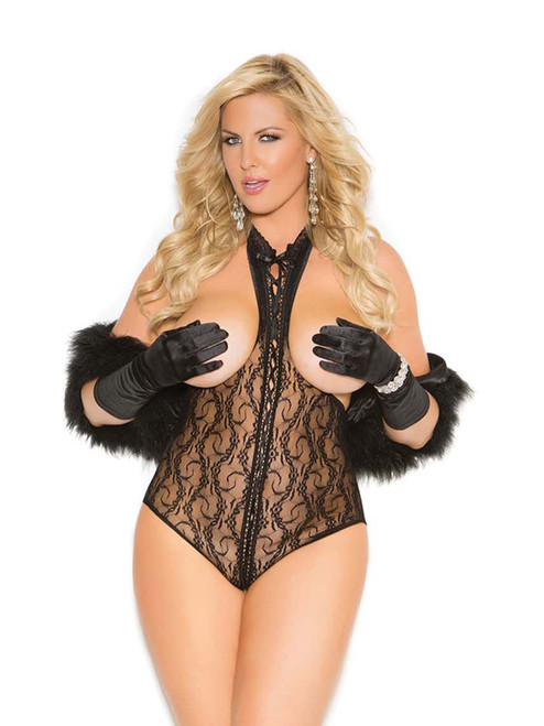 Womens Plus Size Lace Cupless Lace Up Open Back Teddy Bodysuit Lingerie