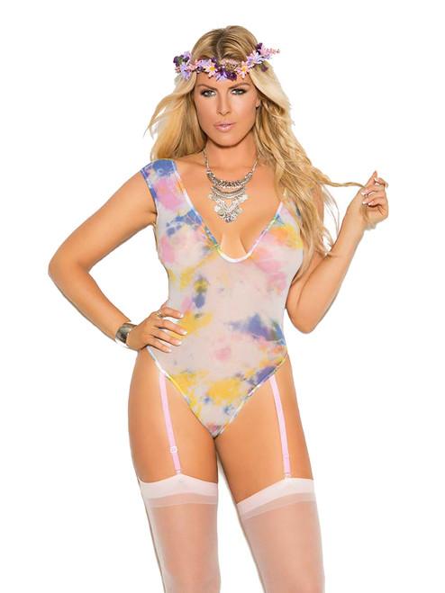 Womens Plus Size V Neck Opaque Tie Dye Festival Teddy Bodysuit Lingerie