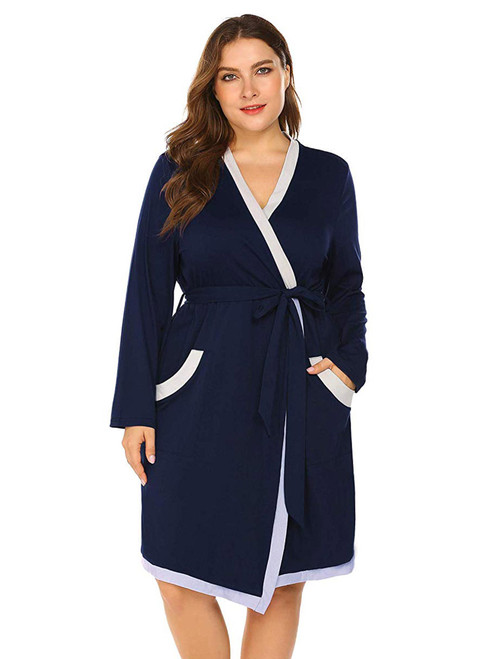 Women Plus Size Spa Bathrobe Long Soft Robe Loungewear