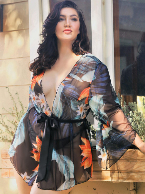 Women Plus Size Tropical Print Bohemian Mesh Flowing Kimono Robe Cover Up