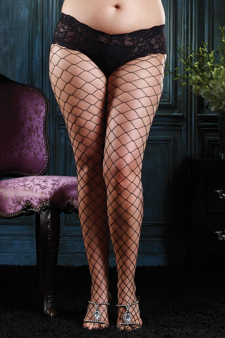 Fence Net Fishnet Black Tights With Boyshort Lace Top Pantyhose