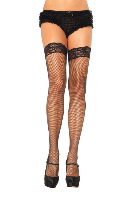 Plus Size Hosiery Lingerie Fishnet Thigh Highs With Stay Up Top