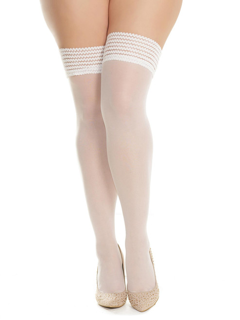 Plus Size Womens White Sheer Striped Elastic Stay Up Thigh High Bridal Stockings