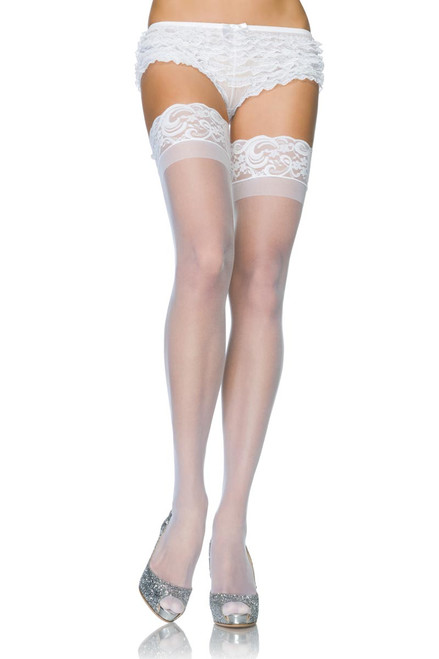 Plus Size Hosiery Stay Up Lace Top Spandex Sheer Thigh Highs Stockings