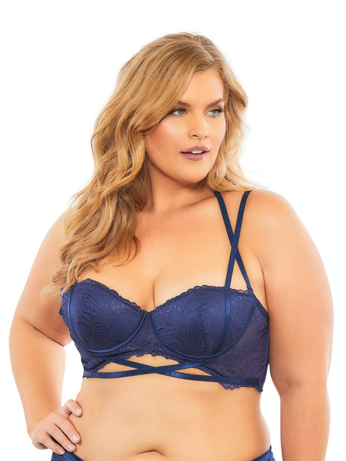 Plus Size Push Up Lace Balconette Bra Top Halter Crossing Straps Lingerie
