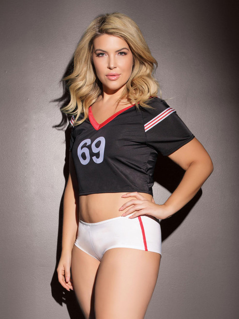 Plus Size Football Raglan Crop Top and Booty Short Roleplay Bedroom Costume Set