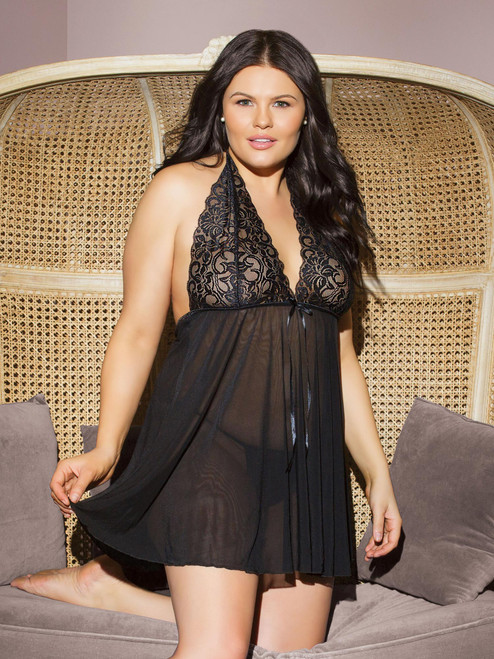 Plus Size Womens Lace Halter Black Babydoll Top and G String Lingerie Set