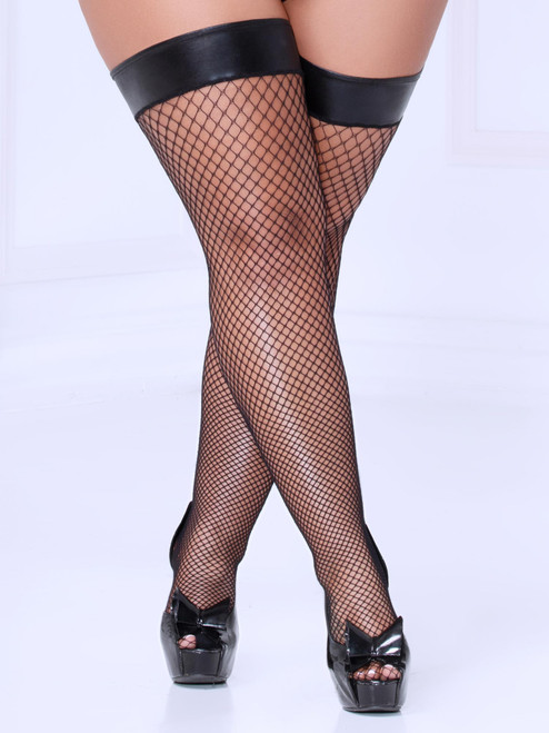 Women Plus Size Shiny Wet Look Top Black Fishnet Thigh High Stockings