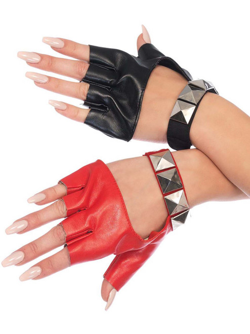 Harley Quinn Costume Gloves Two Toned Harlequin Studded Accessories
