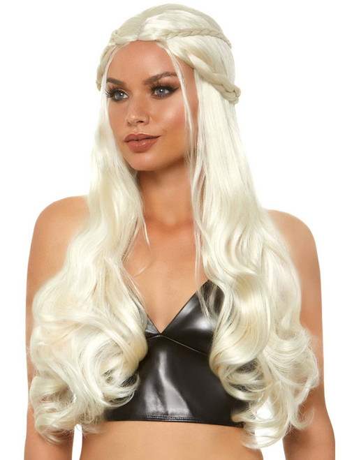 Womens Blonde Braided Dragon Queen Wig