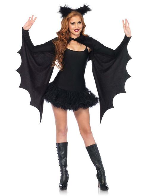 Cozy Bat Wing Shrug Furry Ear Headband Costume Set Accessory Kit