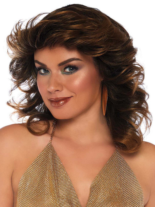 Womens Farrah Feathered Brown Wig