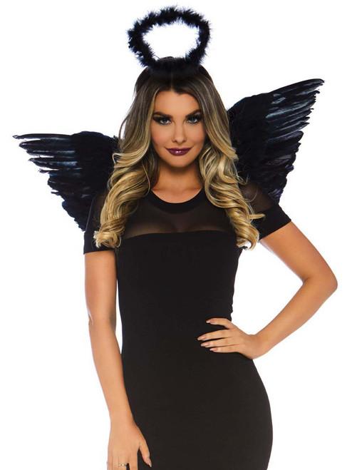 Angel Marabou Costume Set Black Wings Halo Accessory Kit