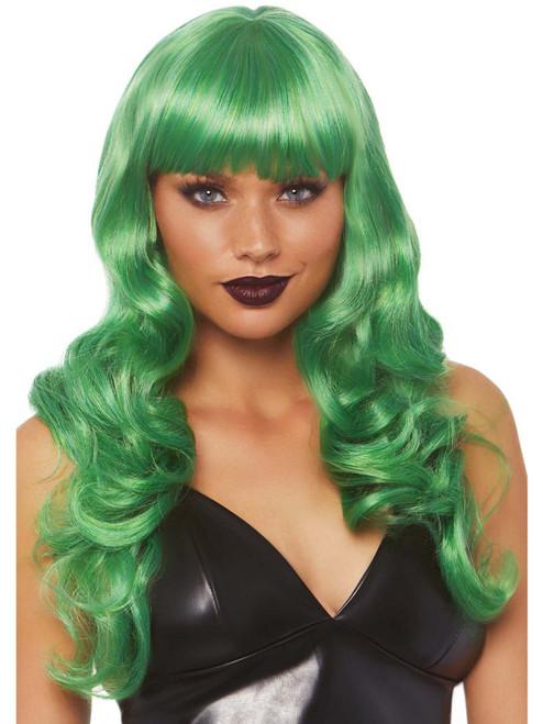 Womens Wavy Long Green Wig With Bangs