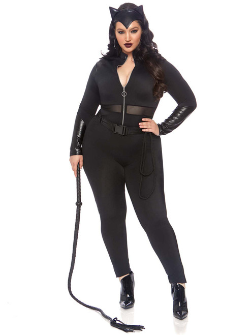 Plus Size Sultry Super Villain Cat Suit Zipper Front Roleplay Costume