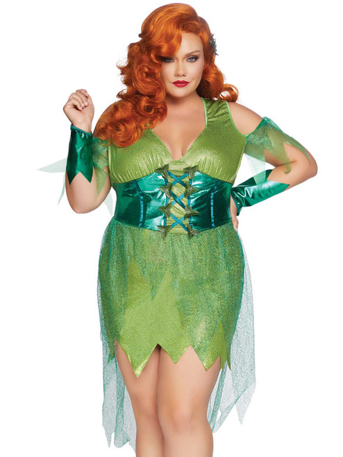 Plus Size Perfect Poison Ivy Cold Shoulder Dress Roleplay Costume