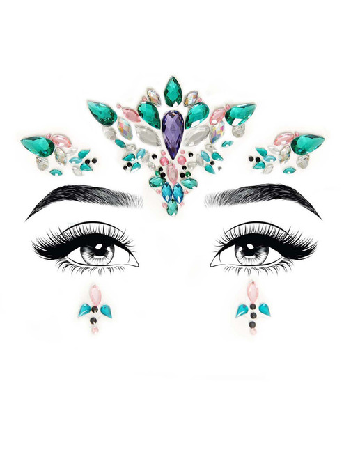 Aria Adhesive Face Jewels Stickers Festival Rave Body Bling Glitter Gems