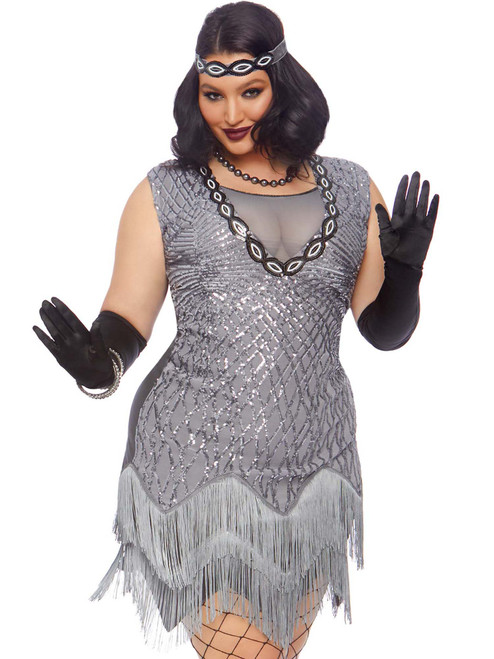 Womens Plus Size Sequin Roaring Roxy 1920s Flapper Dress Costume