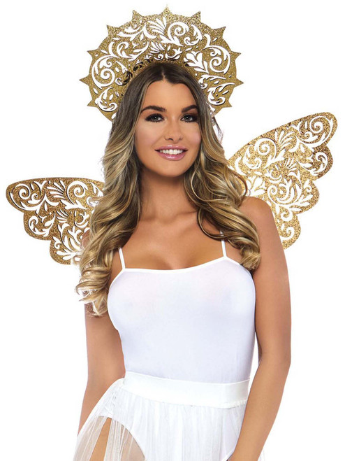 Golden Angel Kit Die Cut Glitter Wings and Halo Costume Accessory Kit