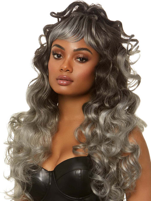 Womens Long Grey Gray Curly Wig With Wispy Bangs