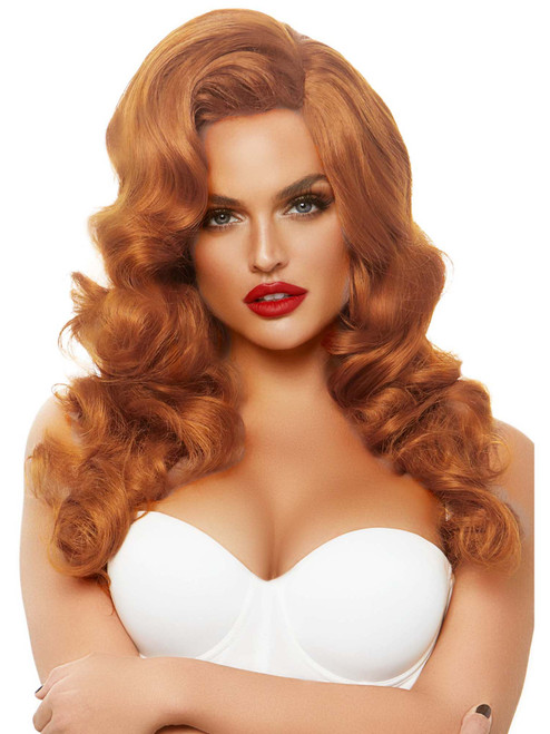 Womens Bombshell Long Orange Curly Wig