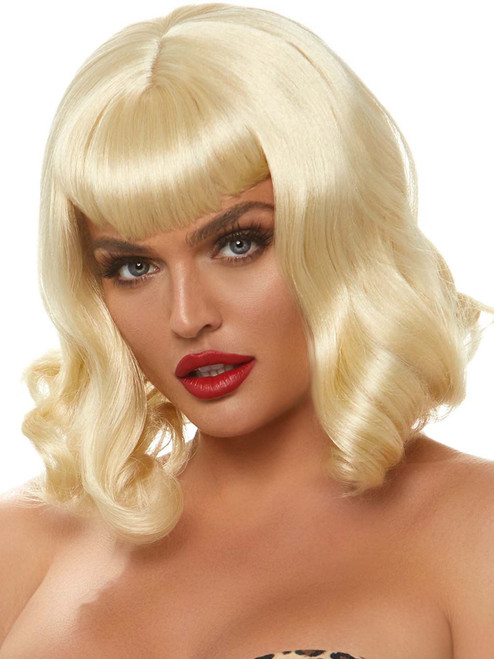 Womens Retro Bang Curly Blonde Bob Wig