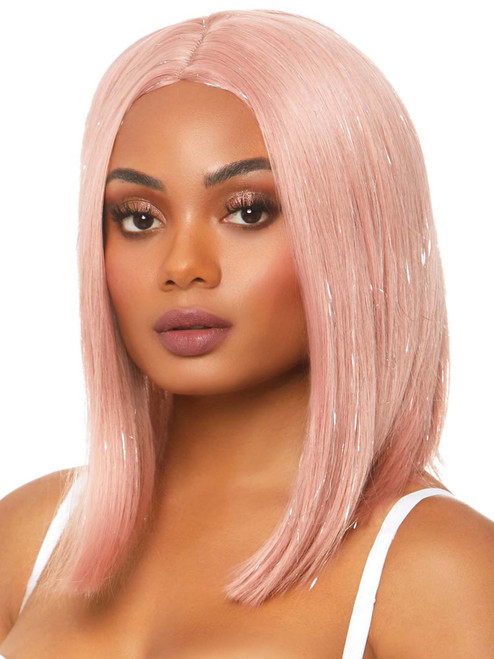Womens Long Center Pink Part Bob Wig