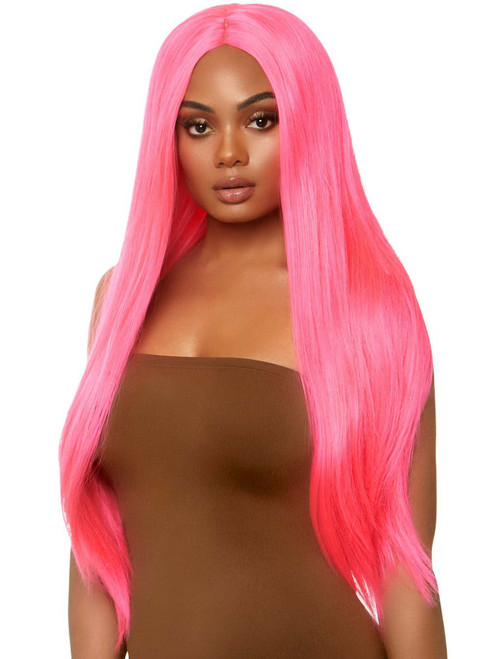 Womens Straight Long Center Neon Pink Part Wig