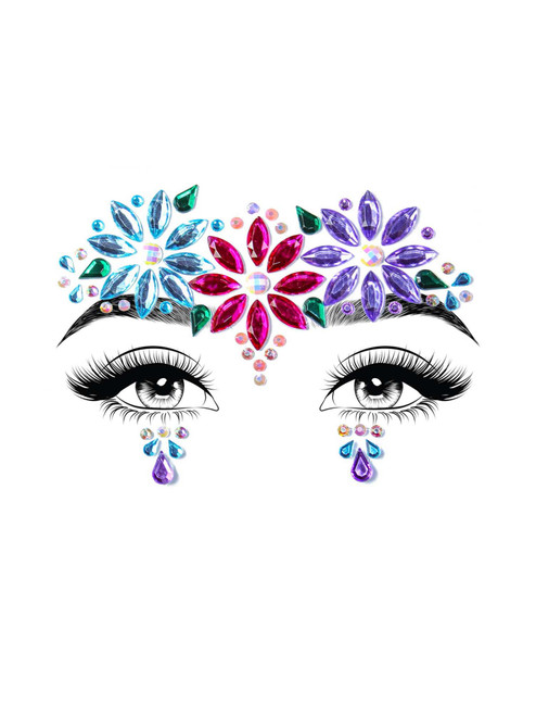 Dahlia Adhesive Face Jewels Stickers Festival Rave Body Bling Glitter Gems