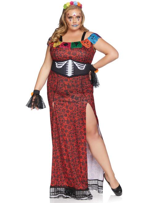 Plus Size Day Of The Dead DOTD Beauty Sugar Skull Print Dress Costume