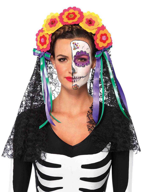 Day Of The Dead Floral Lace Headband Costume Accessories
