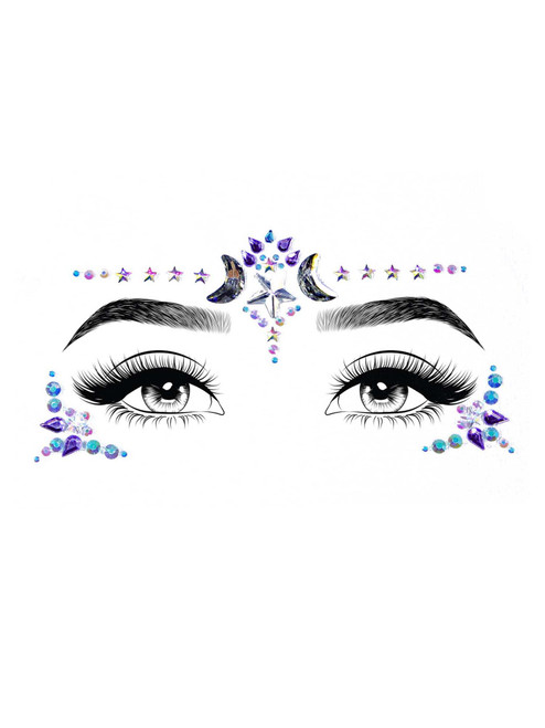 Mystic Adhesive Face Jewels Stickers Festival Rave Body Bling Glitter Gems