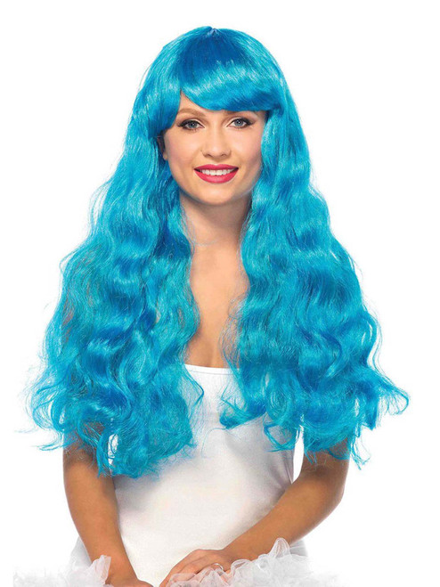 "Women 25"" Starbright Long Wavy Neon Blue Wig"